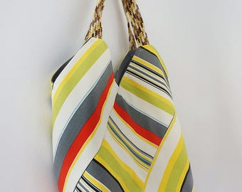 STEVIE (tote, boho style, yellow stripes cotton print)