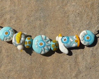 Handmade Lampwork Glass Bead Set Southwestern Western Cowboy Country Turquoise Ivory Artisan bead Handcrafted bead Generationslampwork SRA