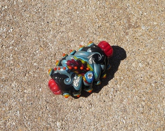 Handmade Lampwork Glass Bead Large Focal Multi color Bright Funky Artisan bead Handcrafted bead Generationslampwork SRA