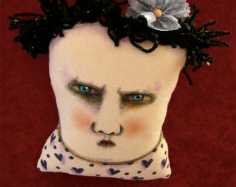art doll head, sandy mastroni , black Hearts, Valentine heart shirt, weird art,Lady head, whimsical, wall art doll , shelf art,