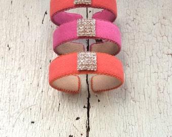 Orange and Pink Adjustable Cuffs with Rhinestones - Citrus