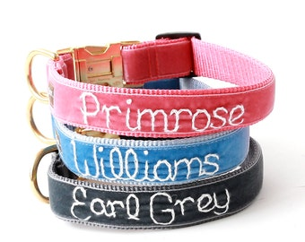 Personalized Velvet Dog Collar - Hand Embroidered with your dog's name