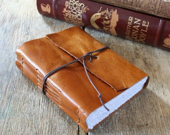 """Leather Journal . """"Be yourself, everyone else is taken"""" - Oscar Wilde quote . handmade handbound . rich golden tan (320 pgs)"""