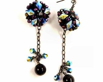 Black Onyx Earrings Sparkling Crystal Jewelry Handwoven Earrings Beadwoven Jewelry Colorful Blue and Purple Earrings Long Dangle Earrings