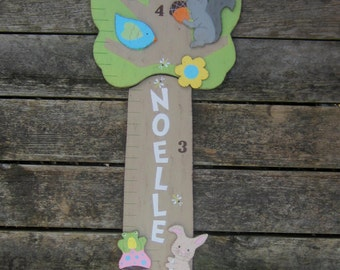 WOODLAND Wood Growth Chart - Personalized Original Hand Crafted Hand Painted Keepsake - Tree & Branch
