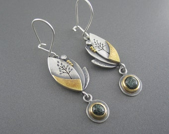 Handmade Enchanted Dreamland Earrings with Yellow Gold, Michigan Greenstone, Sterling Silver and Diamonds