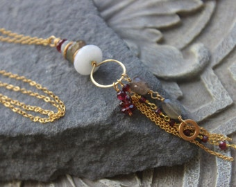 Tassel long necklace, Garnet and labradorite tassel, gold necklace, bohemian chic, holiday jewelry