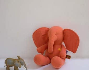 Handmade Baby Elephant stuffed animal doll upcycled eco toy orange soft fabric doll nursery decor Baby shower gift idea bubynoa Best Friend