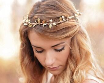 gold halo headband - bohemian bridesmaid crown - rustic headpiece - woodland bridesmaid crown - rustic gold flower crown - gold boho halo