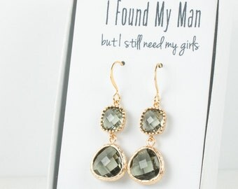 Long Charcoal Gold Earrings, Charcoal Gold Drop Earrings, Gray Gold Earrings, Bridesmaid Earrings, Bridesmaid Gift, Wedding Jewelry