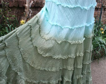 SALE was 29.00 Blue and green tie dye sparkle skirt hippie layered large XL cotton India flare