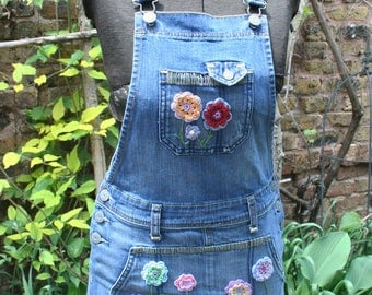 Embroidered denim overall short hippie dress flowered small