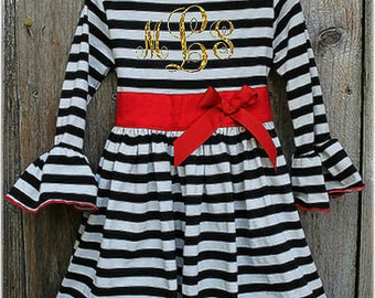 Christmas OR Valentines Stripe Dress, Personalized Holiday Girl Dress, Black White Stripe Christmas  Comfy Knit Holiday Dress