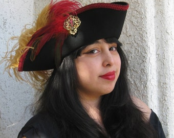 Black, red and gold Pirate tricorn