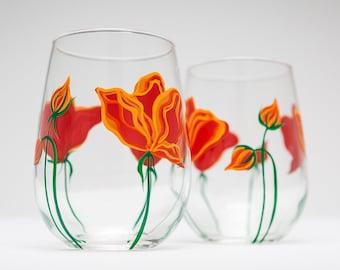 Gift For Mom, California Poppies Wine Glasses - Mothers Day Gift - Set of 8 Stemless Glasses, Poppy Wine Glasses, Poppy Glassware, Mom gift