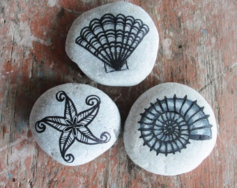 Starfish and Seashells Beach Pebble Art Hand painted, natural Zen stones