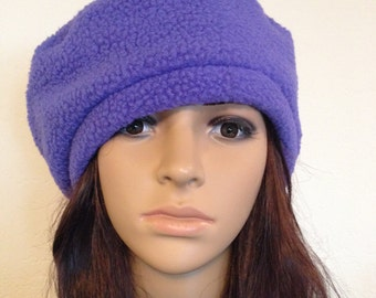 Fleece Hat Slouchy Beret Tam Periwinkle Blue Cold Weather Fashion