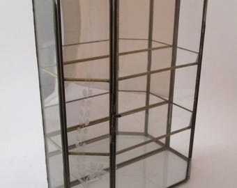 Vintage Curio Cabinet, Glass Display Case, glass and brass box, glass display box, miniature display case, hexagon, Glass Curio, hinged box