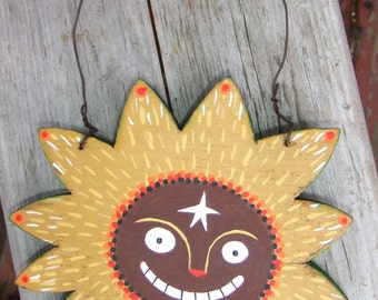 Sun Art Hanging - Whimsical Quirky Colorful - Celestial Star Wall Decor Folk Artwork on Solid Wood with Moon and Star on Flipside