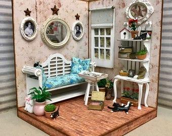 OOAK Handmade Miniature Shabby Chic Room with Cats and Ephemera