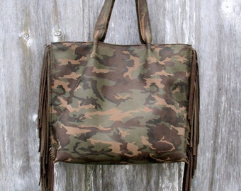Camouflage Leather Tote Bag with Side Fringe by Stacy Leigh