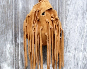 Leather Wristlet in Honey Brown Suede with Long Fringe by Stacy Leigh