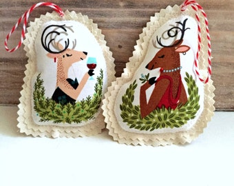cute reindeer fabric Christmas sewn ornaments, whimsical fancy lady reindeer ornaments, holiday party mistletoe deer ornament set -No. 35