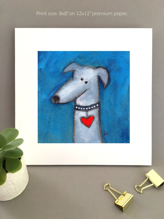 Hound Dog Art for girlfriend, boyfriend, Anniversary gift, Giclée print, art for wife, wall art, rescue dog lover gift idea, heart collar