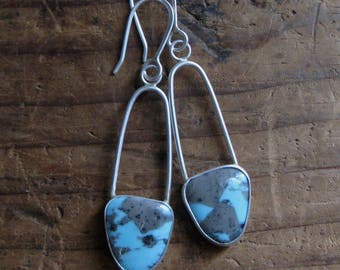 Handmade American Campitos Turquoise and Sterling Silver Earrings