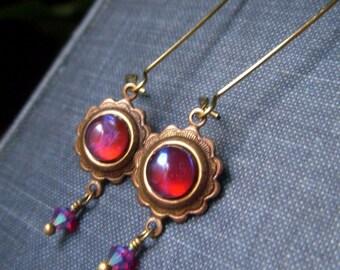 Colorful Earrings, Ruby Blue Dragon's Breath Earrings, Mexican Fire Opal, Art Glass Cabochon Earrings, Brass Earrings, Simple Earrings