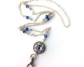 Blue Rhinestone Button and Crystals - Silver Chain ID Badge Lanyard