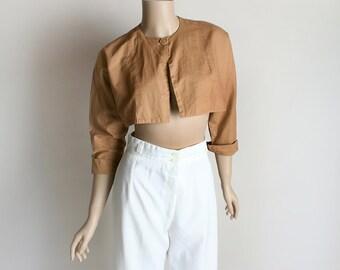 Vintage Crop Bolero - 1950s Nude Khaki Tan Cropped Bolero Top Jacket - Small Medium