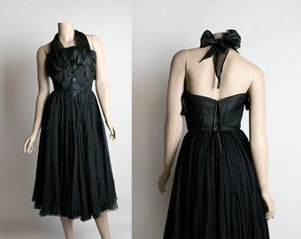 Vintage 1950s Dress - James Galanos Black Chiffon Triple Layer Halter Cocktail Party Evening Tuxedo Dress - Marilyn Monroe Style - XS Small