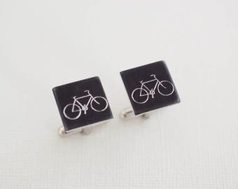 Bicycle Cufflinks - Square Cufflinks - Aluminum Black Custom Cuff links