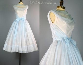 Emma Domb Ice Blue Vintage 1950s Dress XS ~ Ruched Chiffon ~ Full Skirt