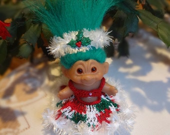 Crochet clothes outfit for 2 3/4  3 inch Vintage Troll doll Dress Headband Christmas Glitter Holly