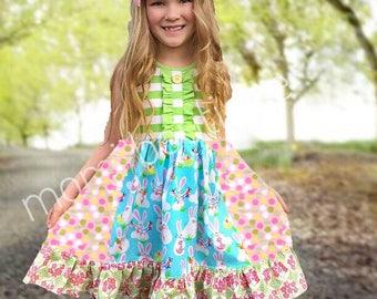 Easter Bunny Spring dress Momi boutique custom girls dress