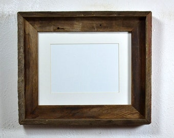 8x10 wood picture frame with white 5x7 mat from reclaimed wood