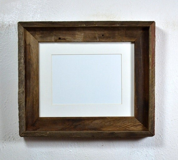 8x10 Wood Picture Frame With White 5x7 Mat From By Barnwood4u