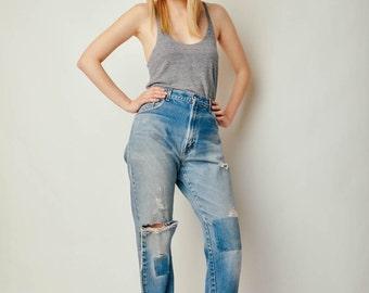 Vintage 517 Levis Patchwork Jeans (34x36)