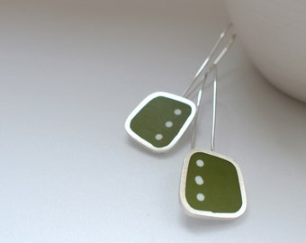 Polka Dot Long Earrings - Spotty Green Earrings - Modern Silver Earrings - Thank-you Gift - Graphico DotDotDot Earrings