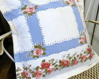 Pillow sham Vintage tablecloth Shabby Farmhouse Summer Porch Blue Pink roses RDT ECS