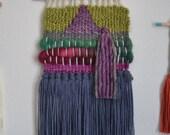 Woven Wall Hanging Deep Purple Lilac Lavender Green Weaving