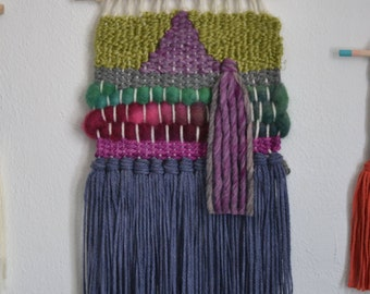Woven Wall Hanging Deep Purple Lilac Lavender Green Weaving