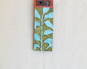 Vertical Wall Art READY TO SHIP Mosaic Wall Art Ceramic Wall Art Stick Mini Pattern & Texture Clay Tile Art Pottery Boho Decor Narrow Art