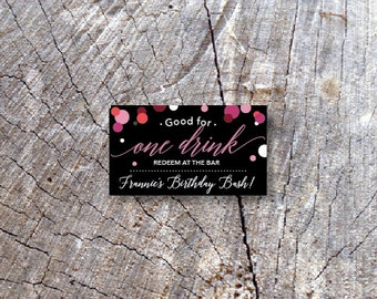 Birthday Bar Drink Tickets - Redeem for a Drink Coupon - Party Bar Tickets - Wooden Nickel - Confetti Admit one Drink Token - Rectangle