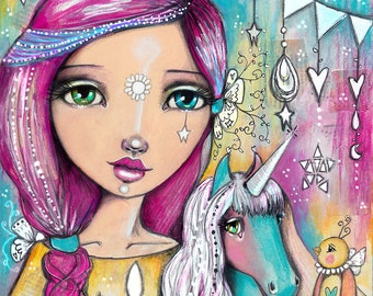 Unicorn Girl - Art Print