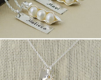 Bar necklace, vertical bar, peas in a pod, genuine freshwater pearls, sterling silver, best friends, sisters gift, 123456789, 10 peapod
