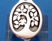Bird In A Tree Pendant, Antique Silver, TierraCast, TS110