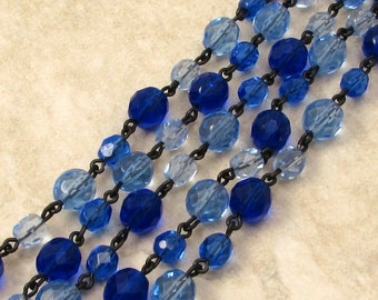 Czech Rosary Chain, Mixed Sapphire Round Fire Polished Glass Beads, Black Link, 1 Foot, C468